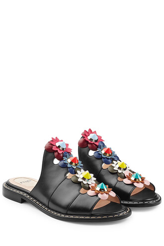 sandals leather sandals floral leather black shoes