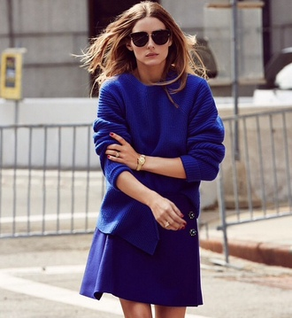 sweater all blue all blue outfit blue sweater skirt blue skirt mini skirt sunglasses black sunglasses olivia palermo celebrity style celebrity all navy blue outfit