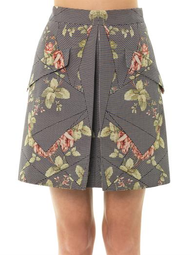Floral houndstooth mini skirt