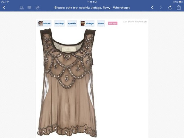 blouse top tank top transparent transparent top party top dorothy perkins mesh embellished tan with beads