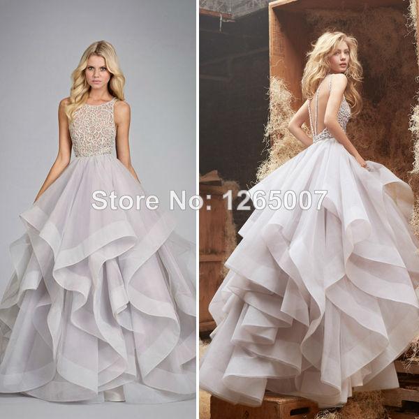 Open Back Flounced Court Open Back Ball Gown Wedding Dresses
