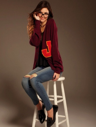 sweater cardigan wool sweater knitted cardigan geek chic jeans casual kendall jenner