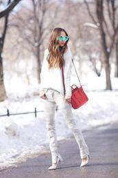 something navy,blogger,stilettos,mirrored sunglasses,white sweater,grey jeans,red bag,celine bag,jeans,sweater,bag,shoes,sunglasses,white sunglasses