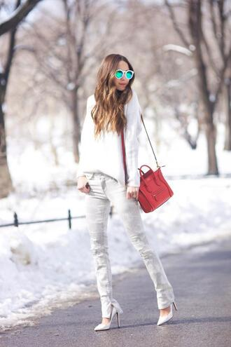 something navy blogger stilettos mirrored sunglasses white sweater grey jeans red bag celine bag jeans sweater bag shoes sunglasses white sunglasses