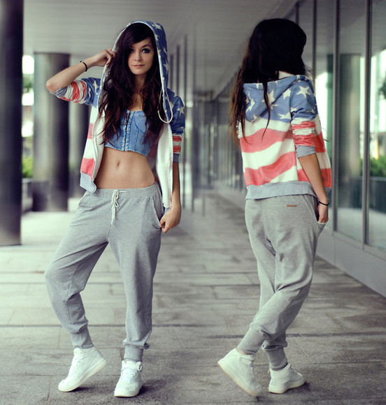 american flag hoodie shirt girl shirts flag jacket romwe romwe coat pants sweatpants sweater sweatshirt grey comfy pants jeans jogging