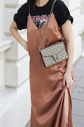 dress,tumblr,slip dress,t-shirt,black t-shirt,dress over t-shirt,bag,grey bag,maxi dress,satin dress,slit dress,gucci,gucci bag,dionysus,graphic tee,silk slip dress