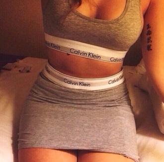 skirt calvin klein grey skirt grey