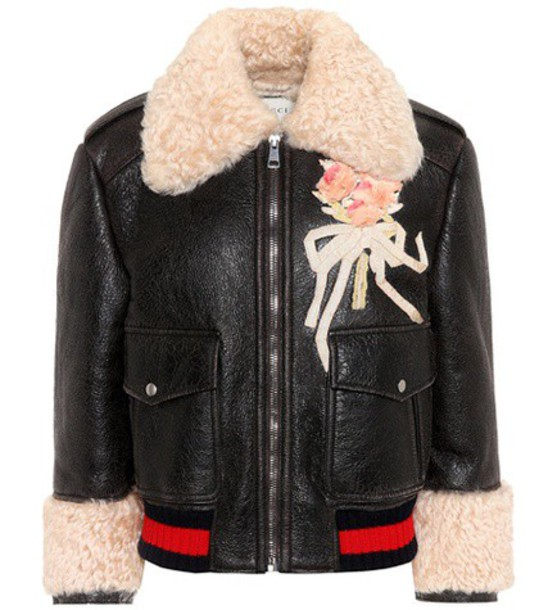gucci jacket leather jacket embroidered leather black