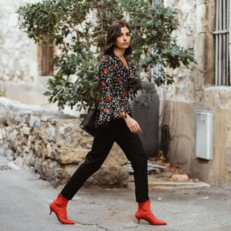 aria di bari blogger blouse jacket pants socks shoes shirt ankle boots red boots bell sleeves fall outfits