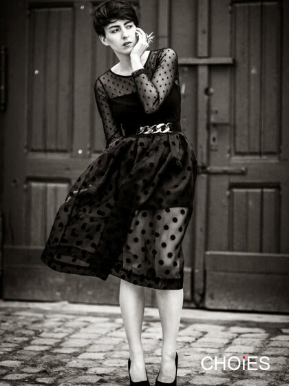 Dot Print Mesh Midi Skirt with Lining   Choies