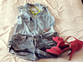 shoes,outfit,denim,denim on denim,washed denim,short shorts,denim shorts,blue,neon jewel,jewels,necklace,straps,sandals,clothes,high heels,fuchsia,pink