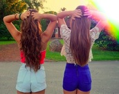 shorts,summer,denim,top,t-shirt,lace,back,clothes,hair,crop tops,tank top,rainbow,zip,party,girly,High waisted shorts,high waisted,shirt,blue skirt,blue,pink,lace top,red tank,tanned girls,zips,gold,sherbet,long hair,straight hair,beach wavy,wavy hair,gorgeous