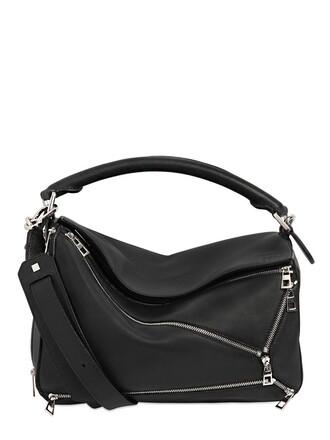 zip bag leather black