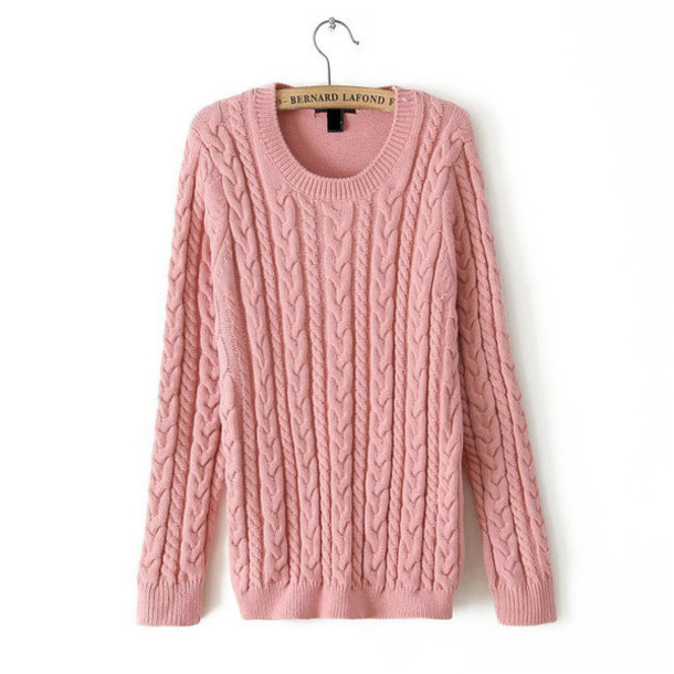 Sweater: pink sweater, light pink, fall outfits, knitted sweater ...
