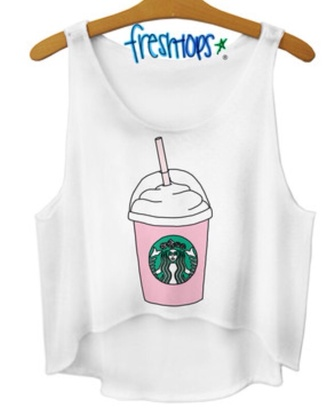 tank top t-shirt starbucks coffee band t-shirt fashion freshtops shirt starbuck logo white crop  tank
