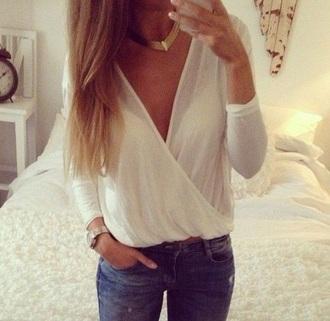 blouse deep v neck v neck long sleeves long sleeve v neck overlapping