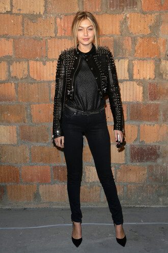 jacket gigi hadid pumps jeans leather jacket all black everything shoes red lime sunday
