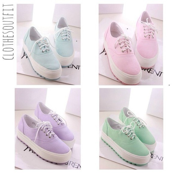 shoes white platform shoes pastel