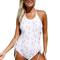 Chicloth floral print thru halter neck lace up sides monokini