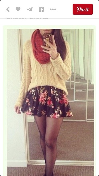 sweater knitted sweater skirt skater skirt floral skirt circle skirt