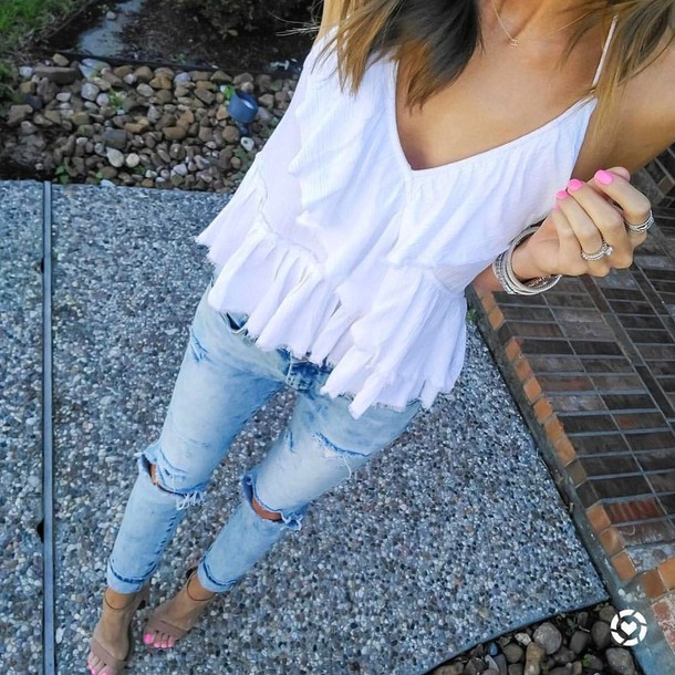 555aba2d96d top, tumblr, white top, ruffle, ruffled top, denim, jeans, blue ...