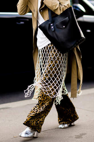 pants fashion week street style fashion week 2016 fashion week paris fashion week 2016 leopard print animal print printed pants top white top mesh boots silver shoes bag black bag streetstyle silver ankle boots
