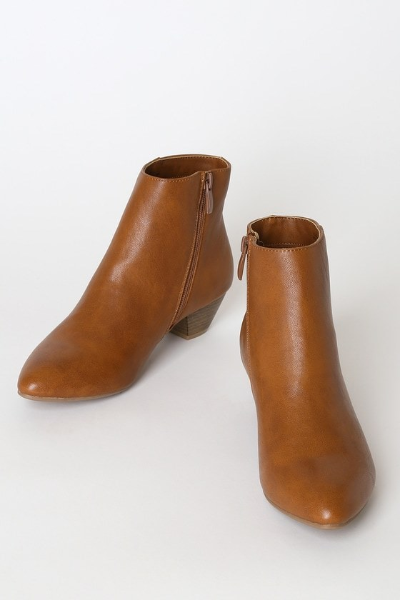 Abrie Tobacco Pointed-Toe Ankle Booties