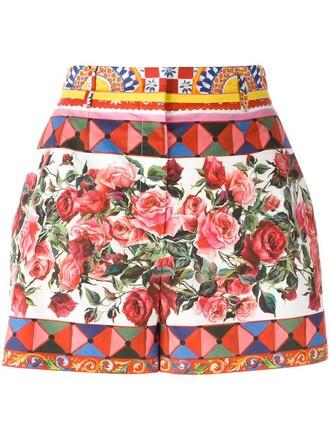 shorts women cotton print pink rose