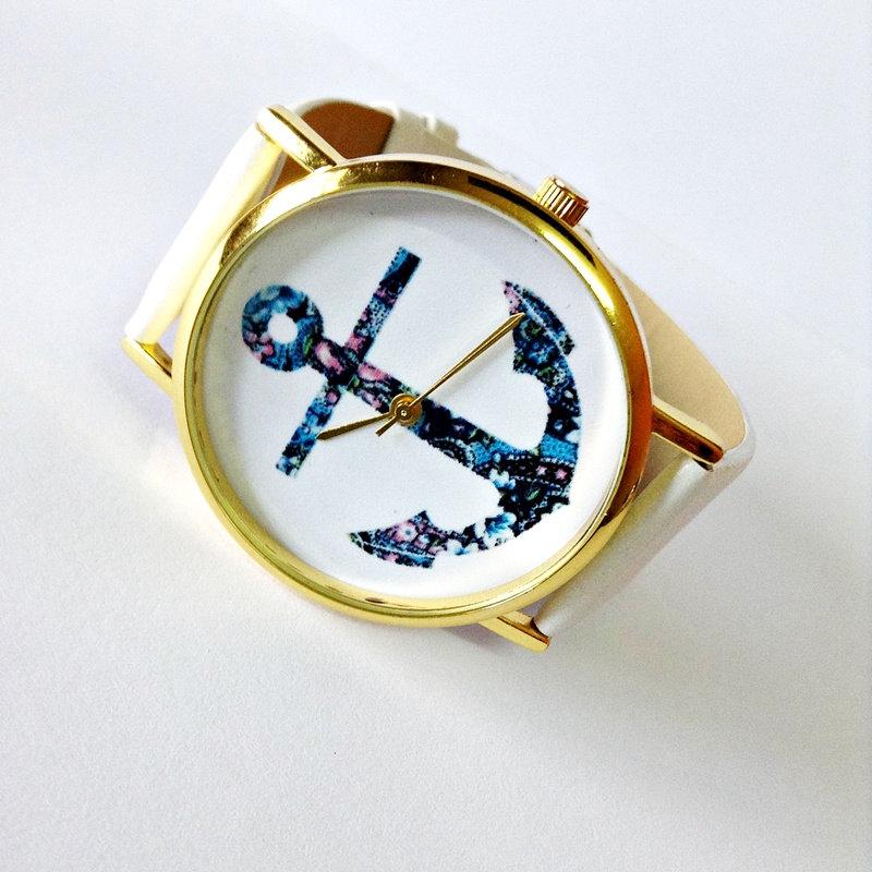 Anchor Watch, Nautical watch, Vintage Style Leather Watch, Women Watches, Unisex Watch, Boyfriend Watch, White, Tan,