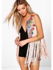jacket,multicolor,vest,fringed jacket,nude jacket