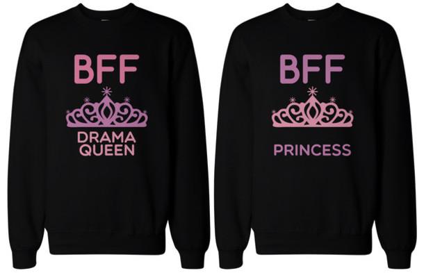 sweater drama queen princess crown bff friendship matching friends friendship sweatshirts
