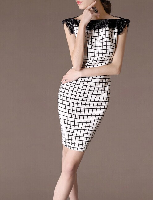 White Lace Plaid Elegant Noble Summer OL Women Fashion Dress lml7092 - ott-123 - Global Online Shopping for Dresses