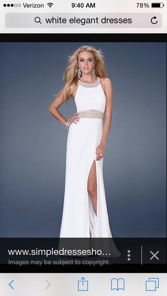 dress white dress gorgeous dress simple dress sparkly dress long prom dress slit dress