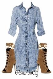 dress,denim,acid wash,brown,heels