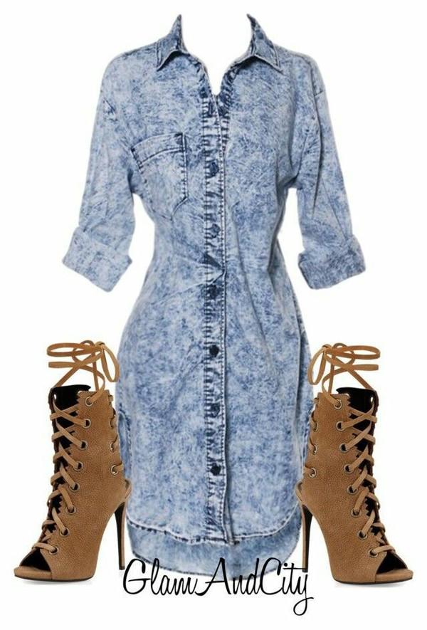 dress denim acid wash brown heels