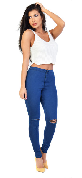 Glamorous blue washed ripped knee skinny jeans