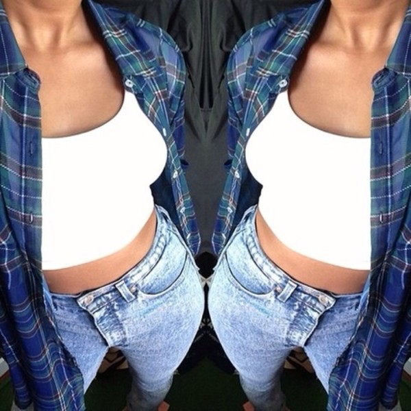 t-shirt flannel shirt white tank top jeans blouse white tank top tumblr clothes boy blue shirt light blue