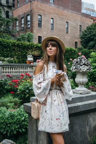 dress cold shoulder hat tumblr cut-out mini dress white dress long sleeves long sleeve dress bag nude bag sun hat