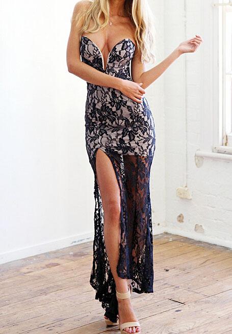 Sexy black lace strapless sweetheart right deep split floor length dress