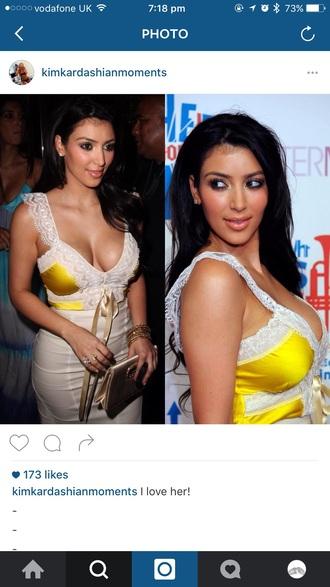 dress yellow dress lace satin kim kardashian lace dress v neck dress white dress
