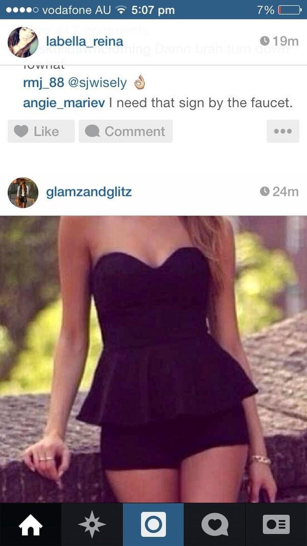 dress cute black sexy short dress playsuit 2014