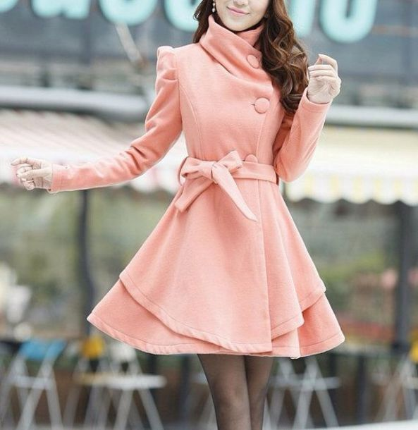 Coat: light pink pea coat bow winter outfits - Wheretoget