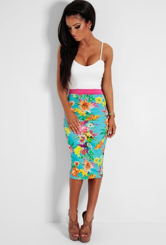 floral colour block midi dress bodycon