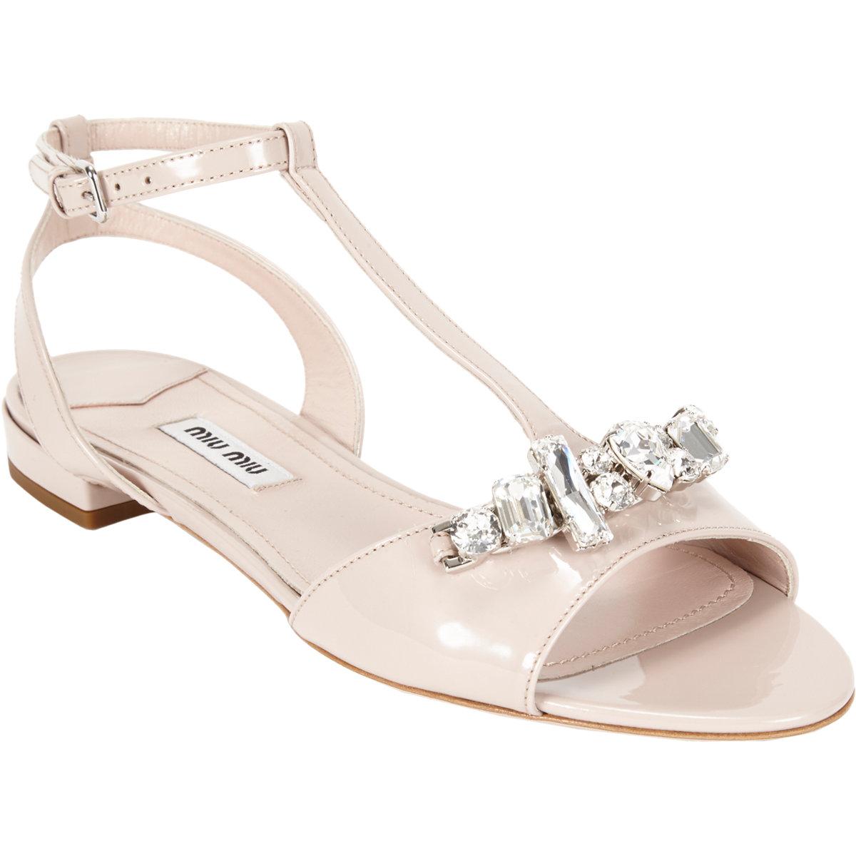 87ba3a1fd Miu Miu Crystal-detailed T-strap Sandals at Barneys.com