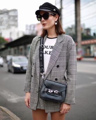 jacket hat tumblr blazer plaid blazer check blazer t-shirt white t-shirt skirt mini skirt fisherman cap bag sunglasses