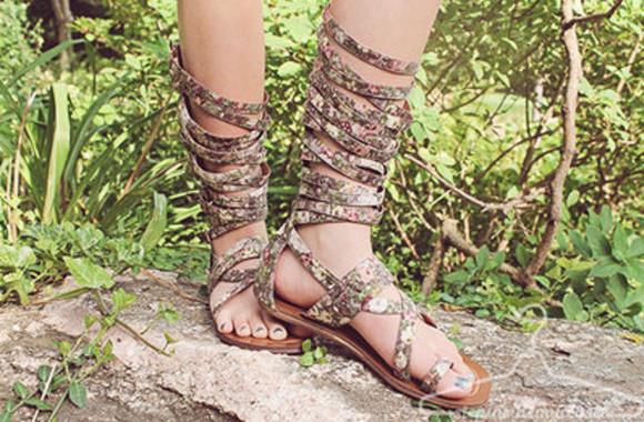 floral gladiator sandals