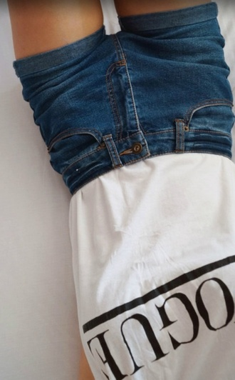 top vogue shirt white t-shirt summer top black letters shorts