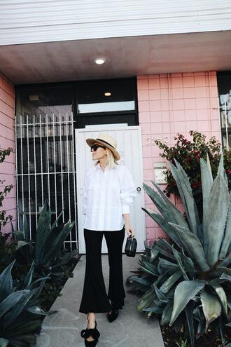damsel in dior blogger pants shirt hat white shirt flare pants spring outfits