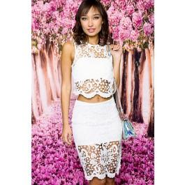 White crochet two piece dress