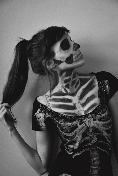 t-shirt t-shirt skeleton indie black t-shirt halloween event halloween makeup
